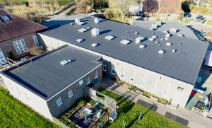 650 square metre felt re-roof installed by Kingsley Roofing on a local primary school in Chichester, Sussex