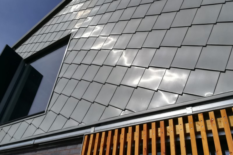 Zinc Cladding detail on a commercial property.
