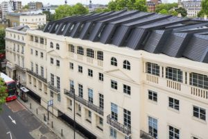 Complex zinc roofing on a London property